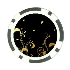 Golden Flowers And Leaves On A Black Background Poker Chip Card Guard (10 Pack)