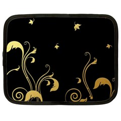 Golden Flowers And Leaves On A Black Background Netbook Case (xxl)  by Nexatart