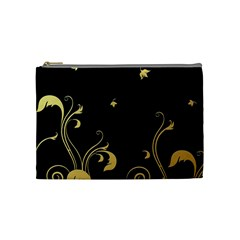 Golden Flowers And Leaves On A Black Background Cosmetic Bag (medium)