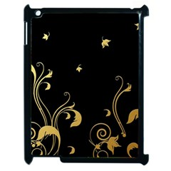 Golden Flowers And Leaves On A Black Background Apple Ipad 2 Case (black) by Nexatart