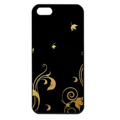 Golden Flowers And Leaves On A Black Background Apple Iphone 5 Seamless Case (black) by Nexatart