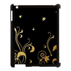 Golden Flowers And Leaves On A Black Background Apple Ipad 3/4 Case (black) by Nexatart