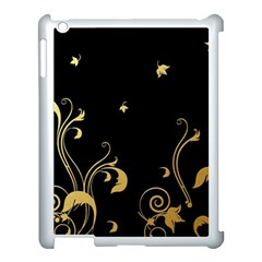 Golden Flowers And Leaves On A Black Background Apple Ipad 3/4 Case (white) by Nexatart