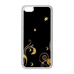 Golden Flowers And Leaves On A Black Background Apple Iphone 5c Seamless Case (white)
