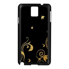Golden Flowers And Leaves On A Black Background Samsung Galaxy Note 3 N9005 Case (black) by Nexatart