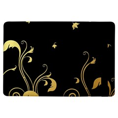 Golden Flowers And Leaves On A Black Background Ipad Air Flip by Nexatart