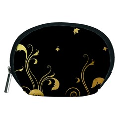 Golden Flowers And Leaves On A Black Background Accessory Pouches (medium)