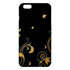 Golden Flowers And Leaves On A Black Background Iphone 6 Plus/6s Plus Tpu Case by Nexatart