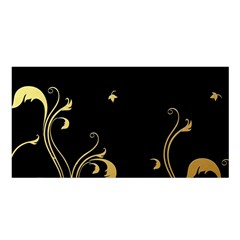 Golden Flowers And Leaves On A Black Background Satin Shawl by Nexatart