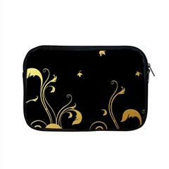 Golden Flowers And Leaves On A Black Background Apple Macbook Pro 15  Zipper Case by Nexatart