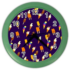 Seamless Cartoon Ice Cream And Lolly Pop Tilable Design Color Wall Clocks by Nexatart
