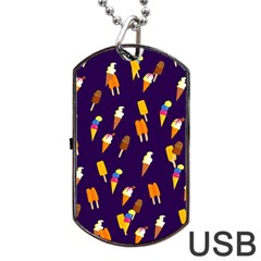 Seamless Cartoon Ice Cream And Lolly Pop Tilable Design Dog Tag Usb Flash (two Sides) by Nexatart