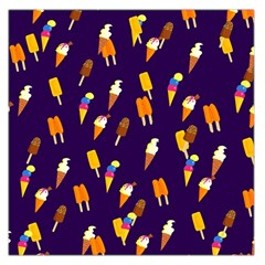 Seamless Cartoon Ice Cream And Lolly Pop Tilable Design Large Satin Scarf (square) by Nexatart