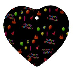 Cartoon Birthday Tilable Design Ornament (heart) by Nexatart