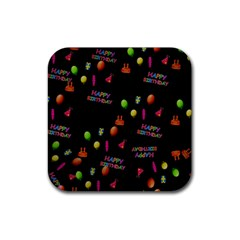 Cartoon Birthday Tilable Design Rubber Square Coaster (4 Pack)