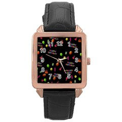 Cartoon Birthday Tilable Design Rose Gold Leather Watch