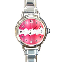 Digitally Designed Pink Stripe Background With Flowers And White Copyspace Round Italian Charm Watch by Nexatart