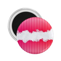 Digitally Designed Pink Stripe Background With Flowers And White Copyspace 2 25  Magnets by Nexatart