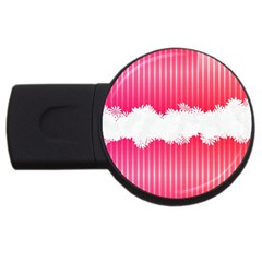Digitally Designed Pink Stripe Background With Flowers And White Copyspace Usb Flash Drive Round (2 Gb)