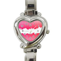 Digitally Designed Pink Stripe Background With Flowers And White Copyspace Heart Italian Charm Watch by Nexatart