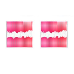 Digitally Designed Pink Stripe Background With Flowers And White Copyspace Cufflinks (square) by Nexatart