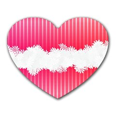 Digitally Designed Pink Stripe Background With Flowers And White Copyspace Heart Mousepads by Nexatart