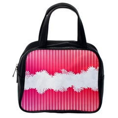 Digitally Designed Pink Stripe Background With Flowers And White Copyspace Classic Handbags (one Side) by Nexatart