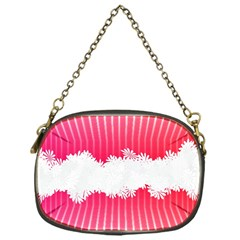 Digitally Designed Pink Stripe Background With Flowers And White Copyspace Chain Purses (one Side)