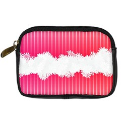 Digitally Designed Pink Stripe Background With Flowers And White Copyspace Digital Camera Cases by Nexatart