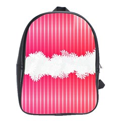 Digitally Designed Pink Stripe Background With Flowers And White Copyspace School Bags(large)