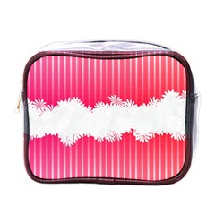 Digitally Designed Pink Stripe Background With Flowers And White Copyspace Mini Toiletries Bags by Nexatart