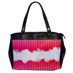 Digitally Designed Pink Stripe Background With Flowers And White Copyspace Office Handbags by Nexatart