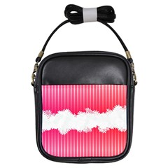 Digitally Designed Pink Stripe Background With Flowers And White Copyspace Girls Sling Bags by Nexatart