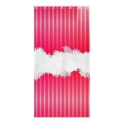 Digitally Designed Pink Stripe Background With Flowers And White Copyspace Shower Curtain 36  X 72  (stall)  by Nexatart