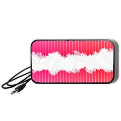 Digitally Designed Pink Stripe Background With Flowers And White Copyspace Portable Speaker (black) by Nexatart