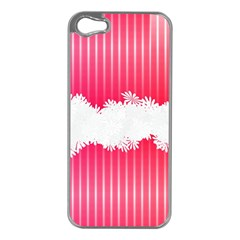 Digitally Designed Pink Stripe Background With Flowers And White Copyspace Apple Iphone 5 Case (silver) by Nexatart