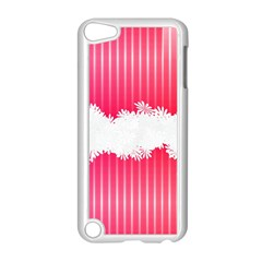 Digitally Designed Pink Stripe Background With Flowers And White Copyspace Apple Ipod Touch 5 Case (white) by Nexatart