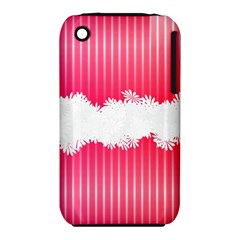 Digitally Designed Pink Stripe Background With Flowers And White Copyspace Iphone 3s/3gs by Nexatart