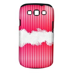 Digitally Designed Pink Stripe Background With Flowers And White Copyspace Samsung Galaxy S Iii Classic Hardshell Case (pc+silicone)