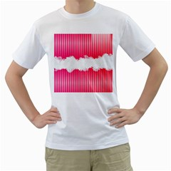 Digitally Designed Pink Stripe Background With Flowers And White Copyspace Men s T Shirt (white)