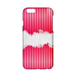 Digitally Designed Pink Stripe Background With Flowers And White Copyspace Apple Iphone 6/6s Hardshell Case by Nexatart