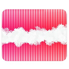 Digitally Designed Pink Stripe Background With Flowers And White Copyspace Double Sided Flano Blanket (medium)