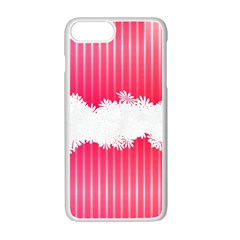 Digitally Designed Pink Stripe Background With Flowers And White Copyspace Apple Iphone 7 Plus White Seamless Case by Nexatart