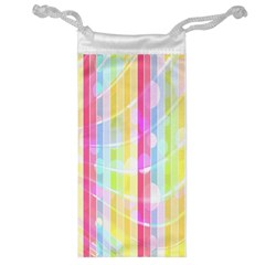 Abstract Stipes Colorful Background Circles And Waves Wallpaper Jewelry Bag by Nexatart