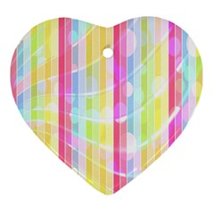 Abstract Stipes Colorful Background Circles And Waves Wallpaper Heart Ornament (two Sides)