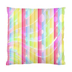 Abstract Stipes Colorful Background Circles And Waves Wallpaper Standard Cushion Case (one Side)