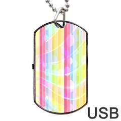 Abstract Stipes Colorful Background Circles And Waves Wallpaper Dog Tag Usb Flash (two Sides) by Nexatart