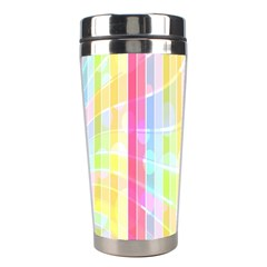 Abstract Stipes Colorful Background Circles And Waves Wallpaper Stainless Steel Travel Tumblers by Nexatart