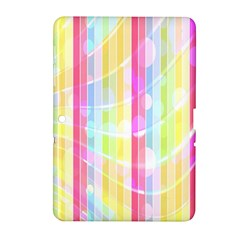 Abstract Stipes Colorful Background Circles And Waves Wallpaper Samsung Galaxy Tab 2 (10 1 ) P5100 Hardshell Case  by Nexatart