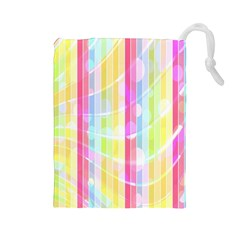 Abstract Stipes Colorful Background Circles And Waves Wallpaper Drawstring Pouches (large)  by Nexatart